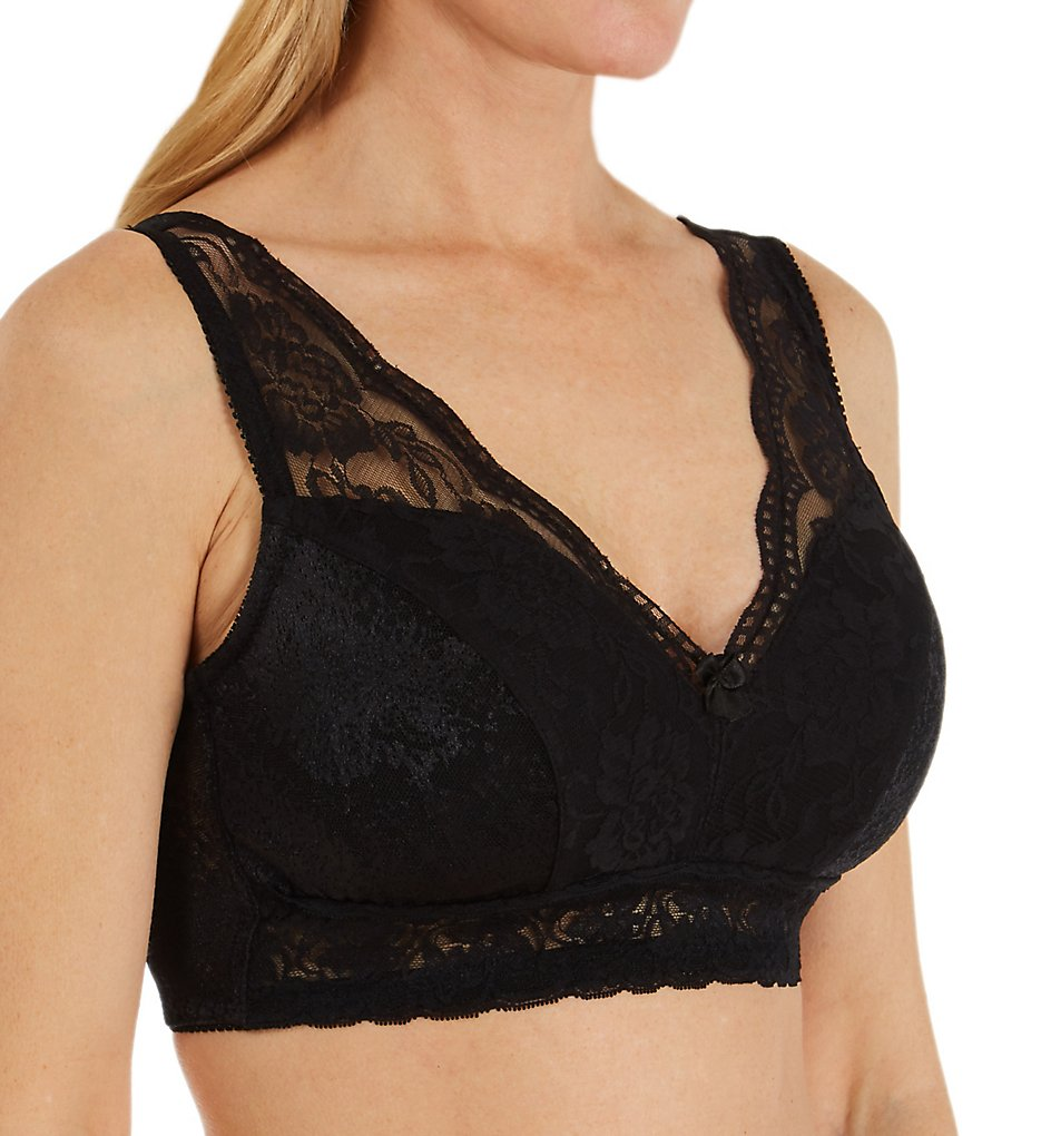 Rhonda Shear - Rhonda Shear 674 Jacquard Pin Up Bra (Black S)