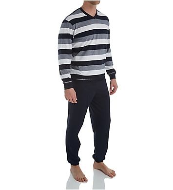 Schiesser Day and Night Single Jersey Stripe Pajama Pant Set