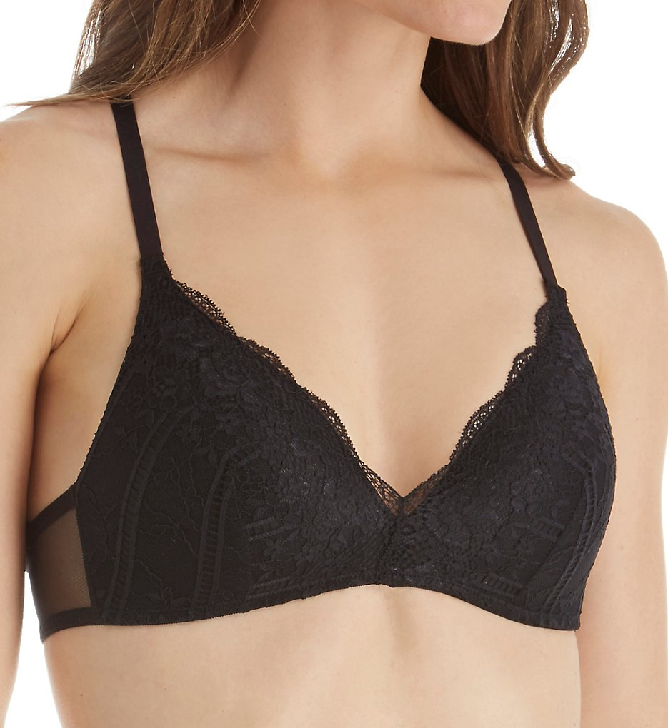 Self Expressions >> Self Expressions SE1145 Foam Cup High Lace Back Bra (Black 34C)
