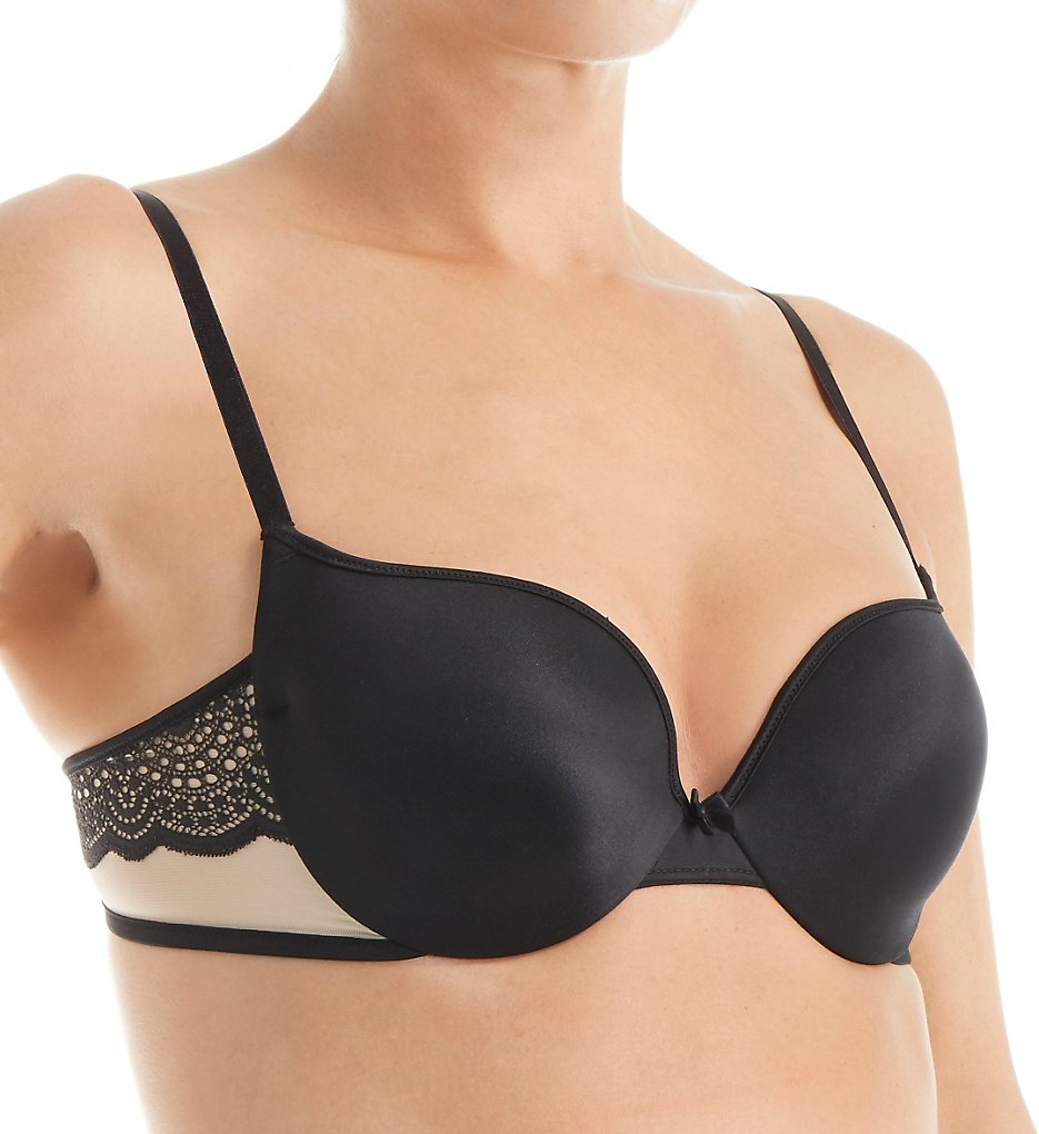 Self Expressions >> Self Expressions SE6660 Center of Attention Lace Wing Underwire Bra (Black/Latte Lift 34B)