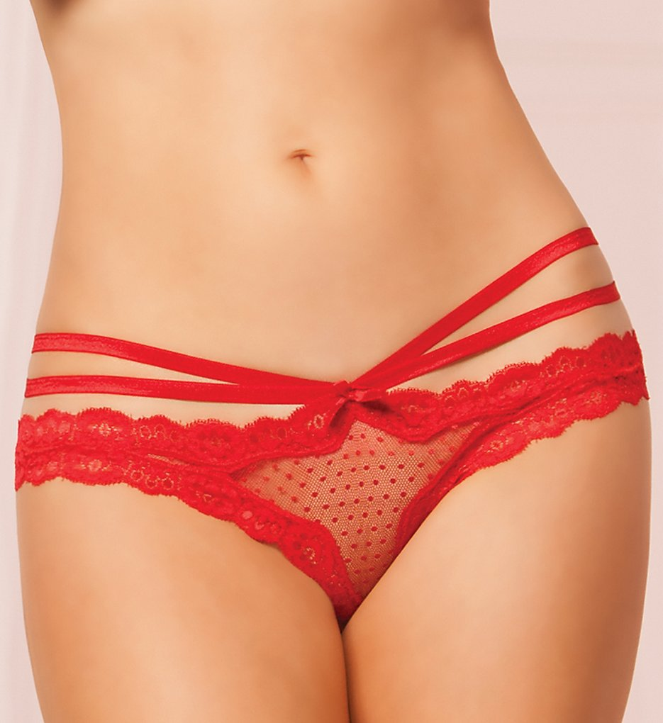 Seven til Midnight - Seven til Midnight 10513 Open Crotch Mesh Panty (Red S)