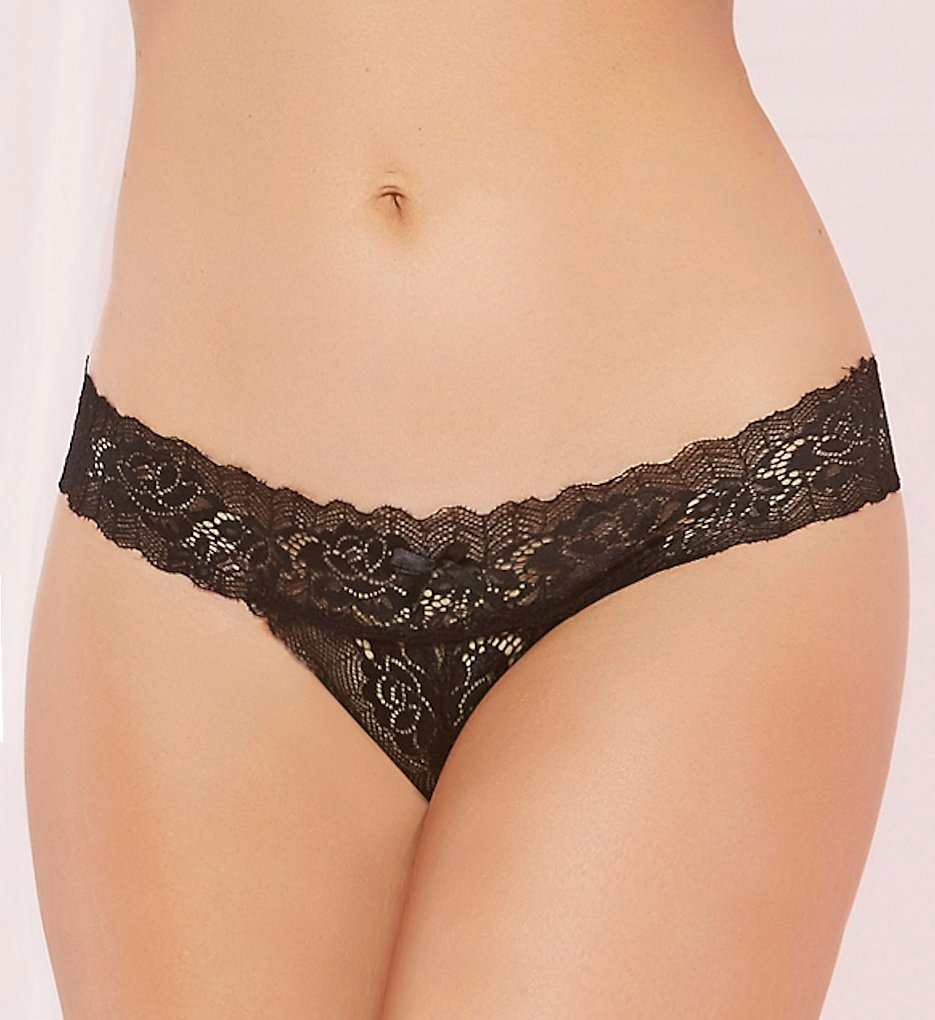 Seven 'til Midnight - Seven 'til Midnight 10547 Rose Lace Open Crotch Panty (Black 1X-2X)