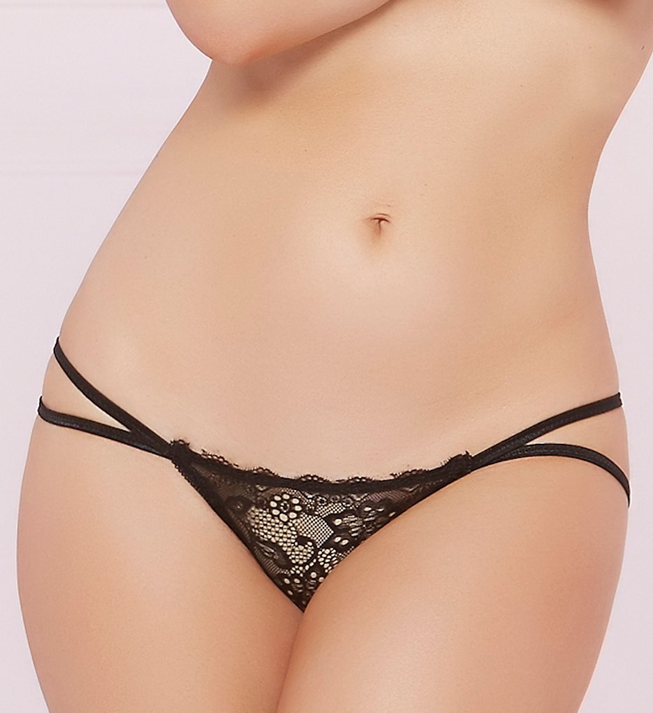 Seven til Midnight - Seven til Midnight 10607 Floral Lace Galloon Open Back Panty (Black S)