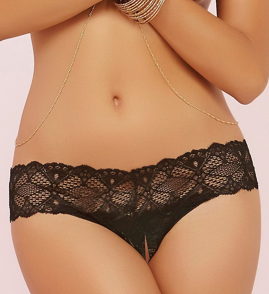 Seven til Midnight - Seven til Midnight 10648P Stretch Lace Split Crotch Thong (Black O/S)