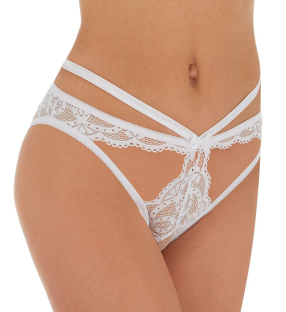 Seven 'til Midnight 10835 Galloon Lace Strappy Crotchless Open Back Panty (White S)