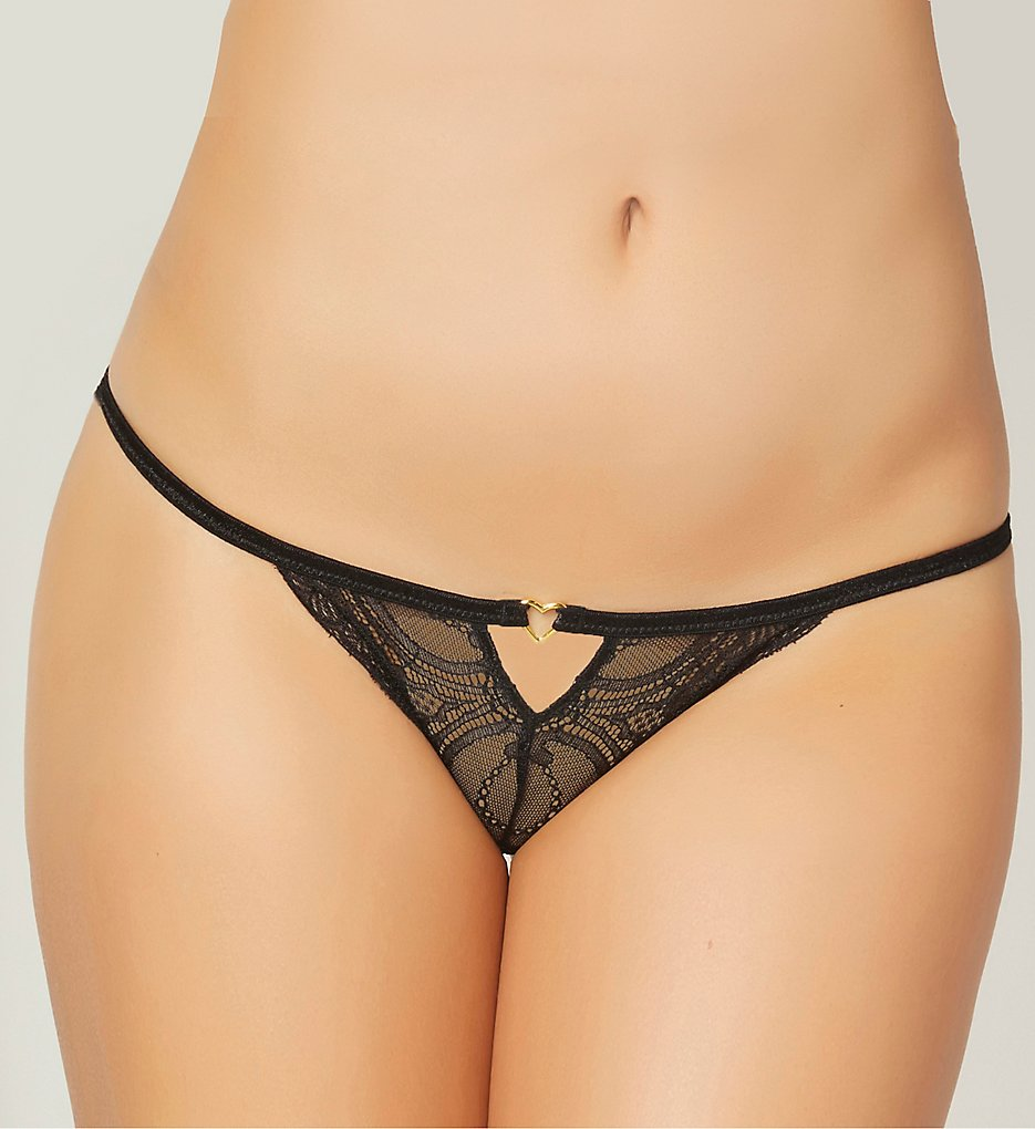 Seven til Midnight - Seven til Midnight 10836 Lace Heart Open Crotch Panty (Black S)