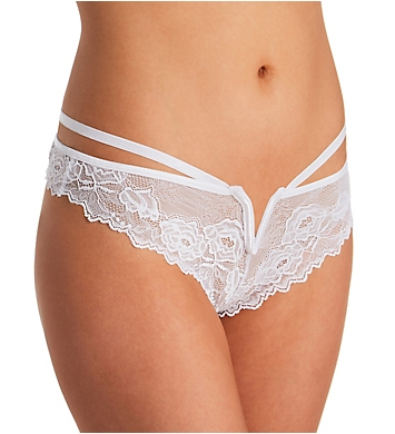 Seven 'til Midnight Strappy Lace Thong With Plunging V