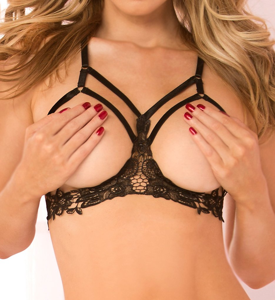 Seven til Midnight - Seven til Midnight 40149 Satin and Lace Harness Open Cup Bra (Black O/S)