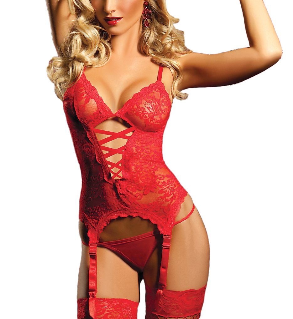 Seven 'til Midnight 9215 Midnight Affair Cami And Thong Set (Red O/S)