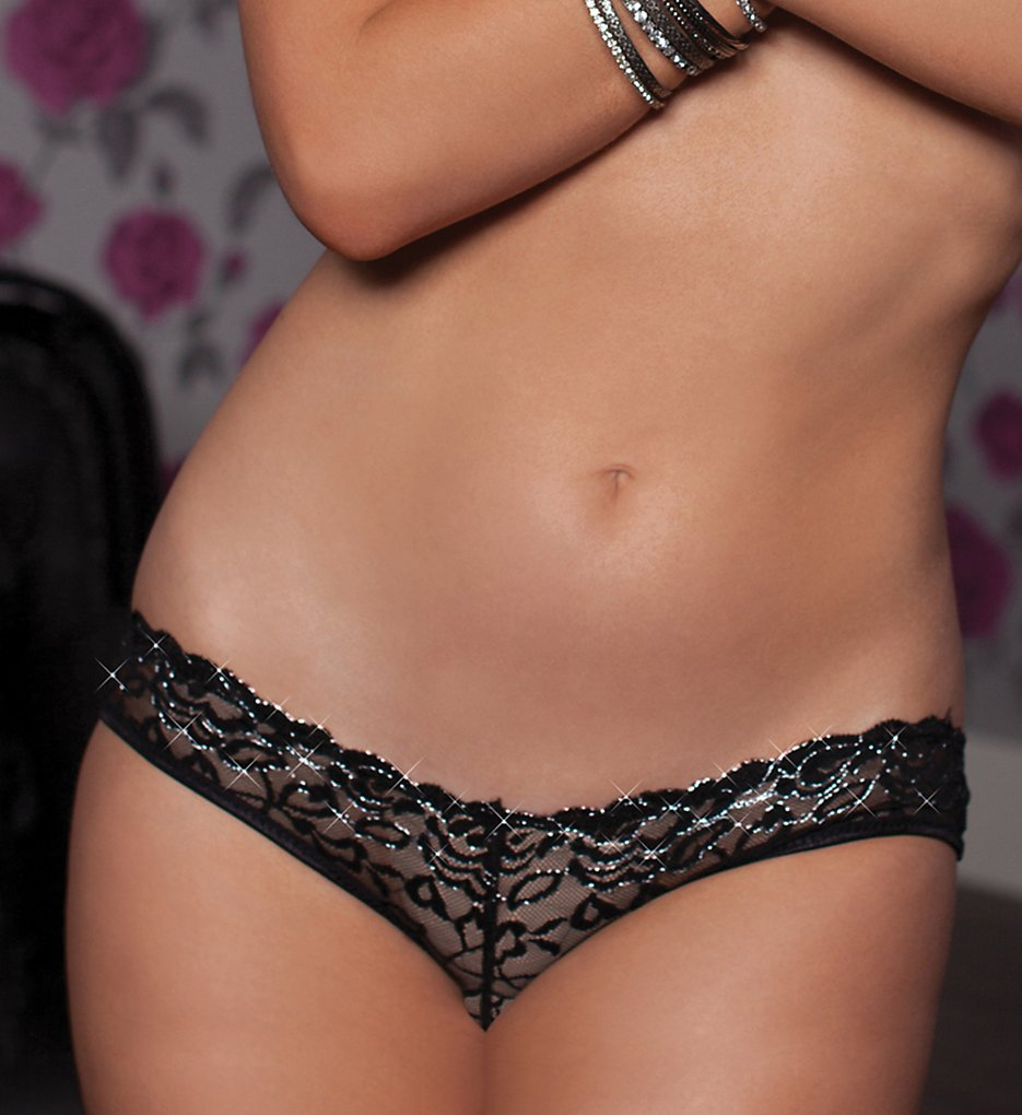 Seven til Midnight - Seven til Midnight 9768 Lurex Lace Cage Back Open Crotch Panty (Black S)