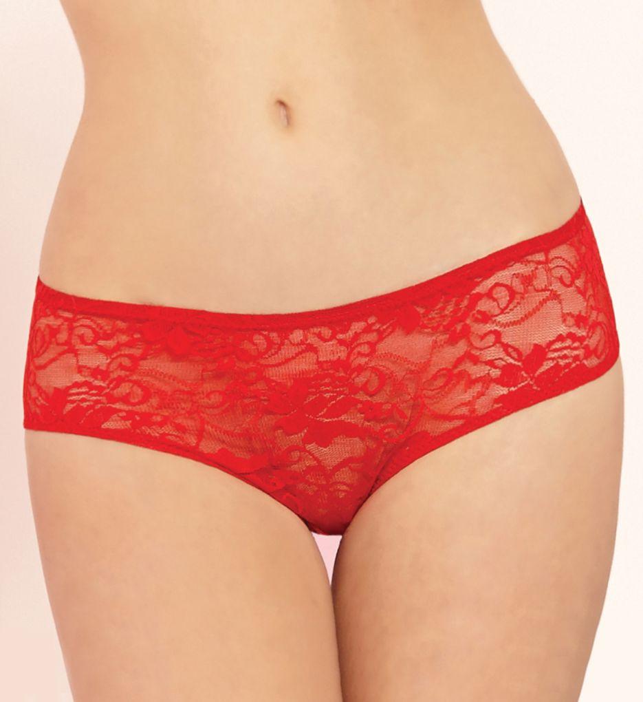 Seven 'til Midnight Open Crotch Ruffle Back Lace Boyshort Panty