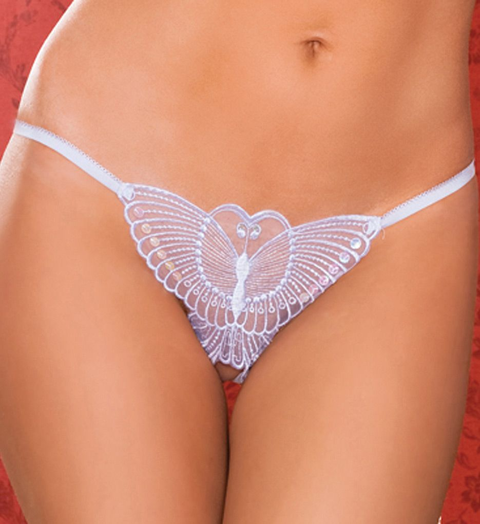 Seven 'til Midnight Madame Butterfly Embroidered Crotchless Thong