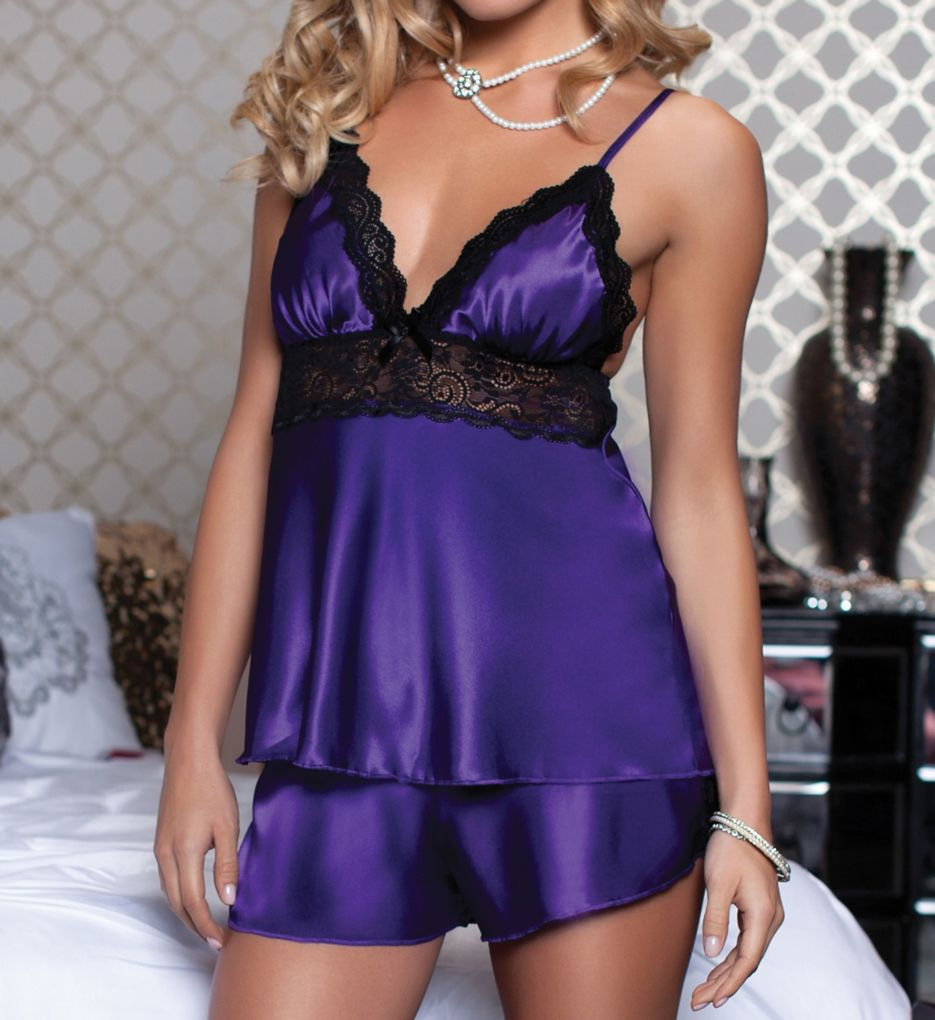 Seven 'til Midnight Enchanting Satin Two Piece Camisole and Short Set