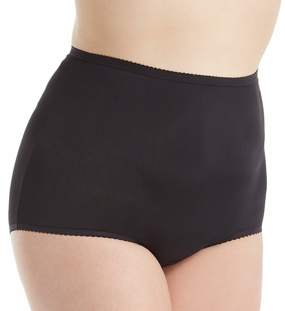 Shadowline - Shadowline 17005P Plus Size Spandex Classics Brief Panty (Black 1X)