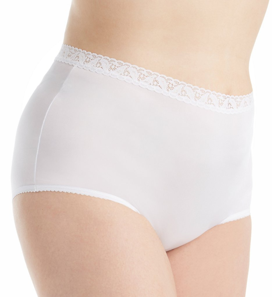 Shadowline - Shadowline 17014P Plus Size Nylon Classics Brief Panty (White 8)