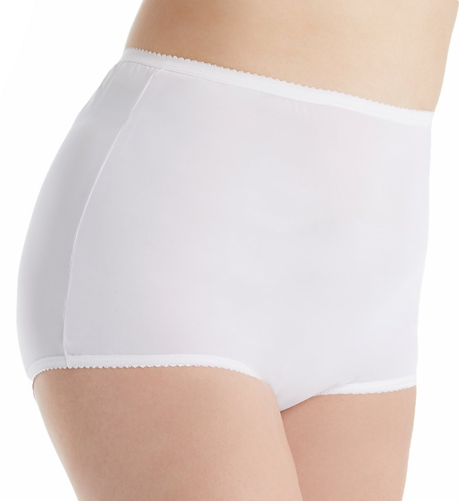 Shadowline - Shadowline 17017P Plus Size Nylon Classics Full Brief Panty (White 8)