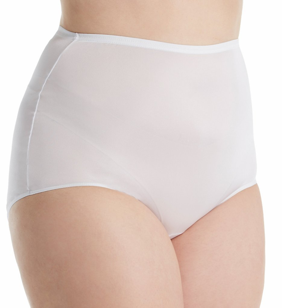 Shadowline - Shadowline 17032P Plus Size Hidden Elastic Nylon Classic Brief Panty (White 8)