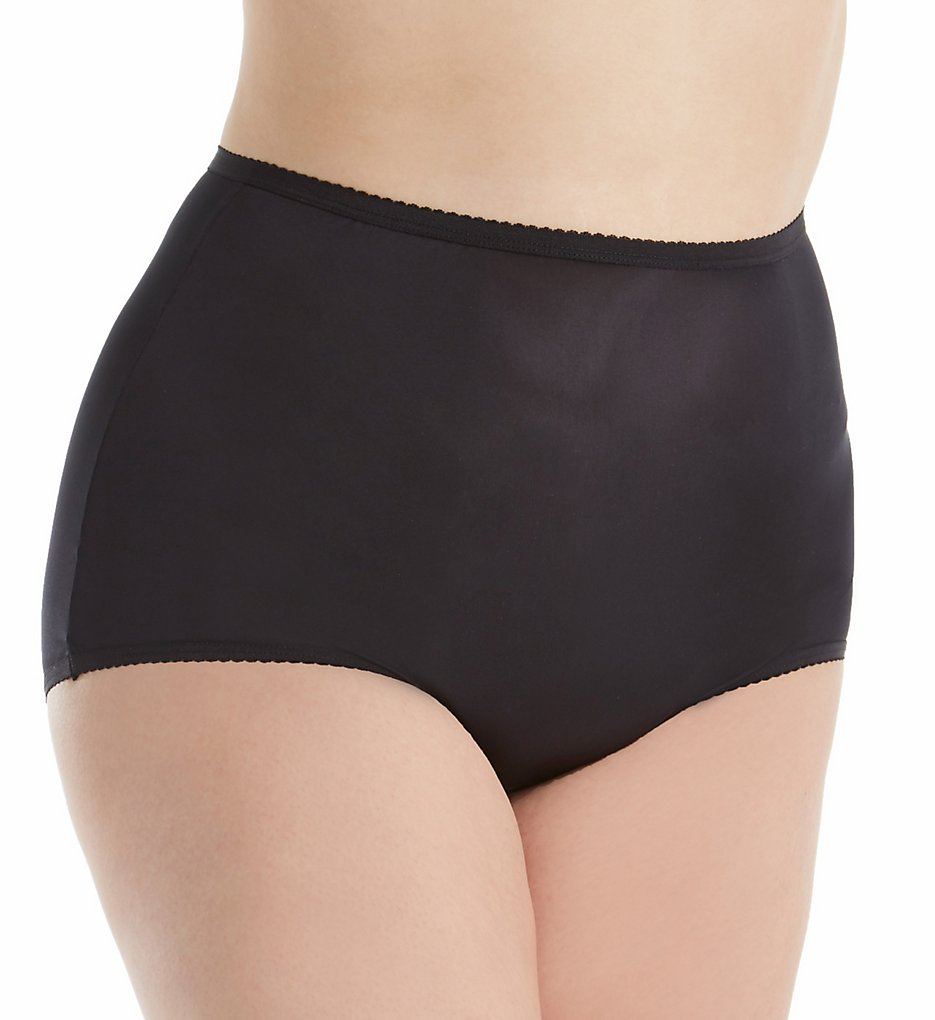 Shadowline - Shadowline 17042P Plus Size Nylon Classic Brief Panty (Black 8)