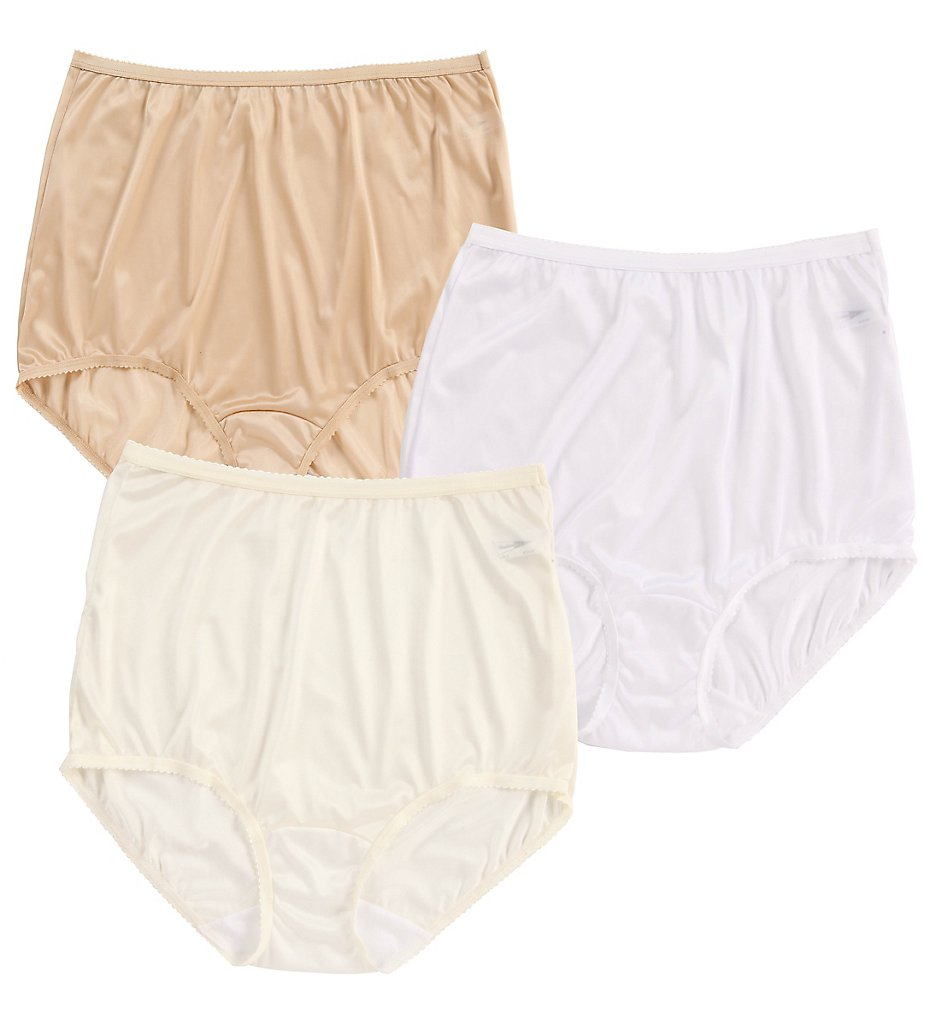 Shadowline >> Shadowline 17042pk Nylon Classics Brief Panty - 3 Pack (Nude/Ivory/White 5)