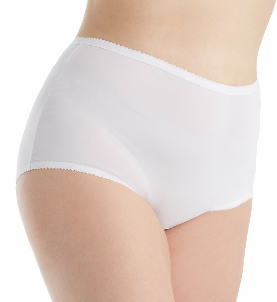Shadowline - Shadowline 17605P Plus Size Spandex Modern Brief Panty (White 1X)