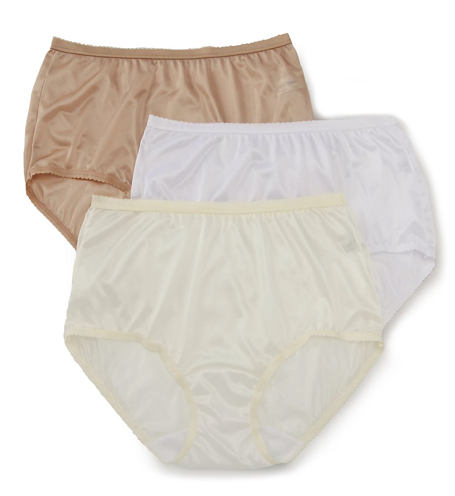 Shadowline - Shadowline 17642pk Nylon Modern Brief Panty - 3 Pack (Nude/Ivory/White 5)