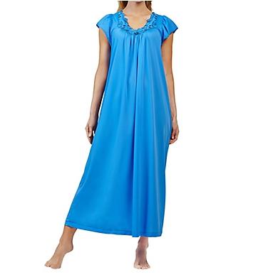 Shadowline Rosebud Nylon Tricot Short Sleeve 53 Inch Gown