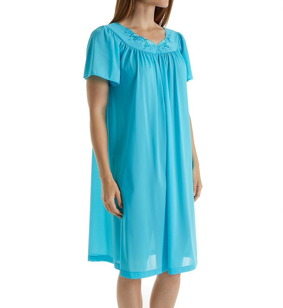 ShadowLine 36280 Petals Short Sleeve Gown 1x Turquoise | eBay