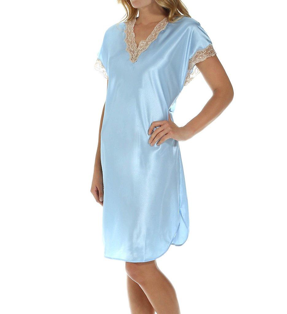 ShadowLine 4503 Charming Charmeuse Sleep Gown L Blue   eBay