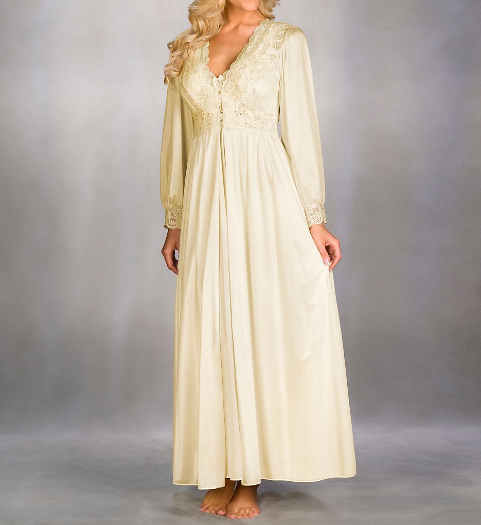 Vintage Inspired Nightgowns, Robes, Pajamas, Baby Dolls Shadowline 71737 Silhouette 54 Inch Coat Ivory 3X $60.00 AT vintagedancer.com