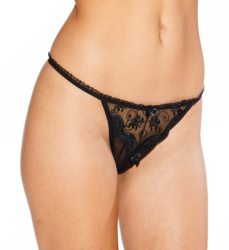 Shirley of Hollywood - Shirley of Hollywood 10 Scalloped Embroidery Lace Crotchless Thong (Black O/S)