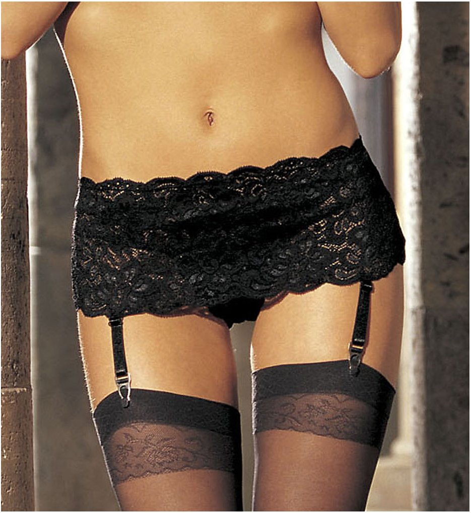 Shirley of Hollywood - Shirley of Hollywood 20146 Stretch Lace Garterbelt (Black O/S)