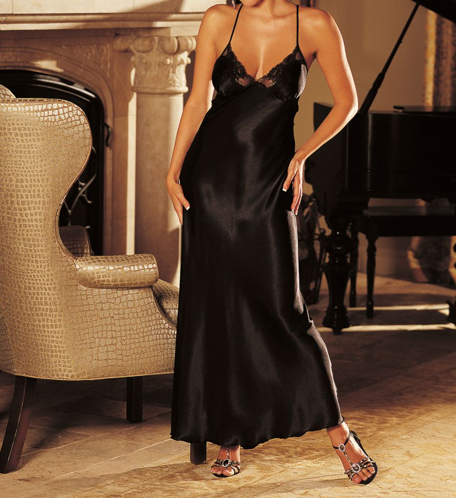 Shirley of Hollywood Charmeuse and Lace Long Gown