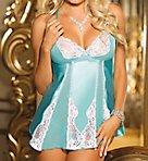 Charmeuse and Lace Babydoll and G-string Set