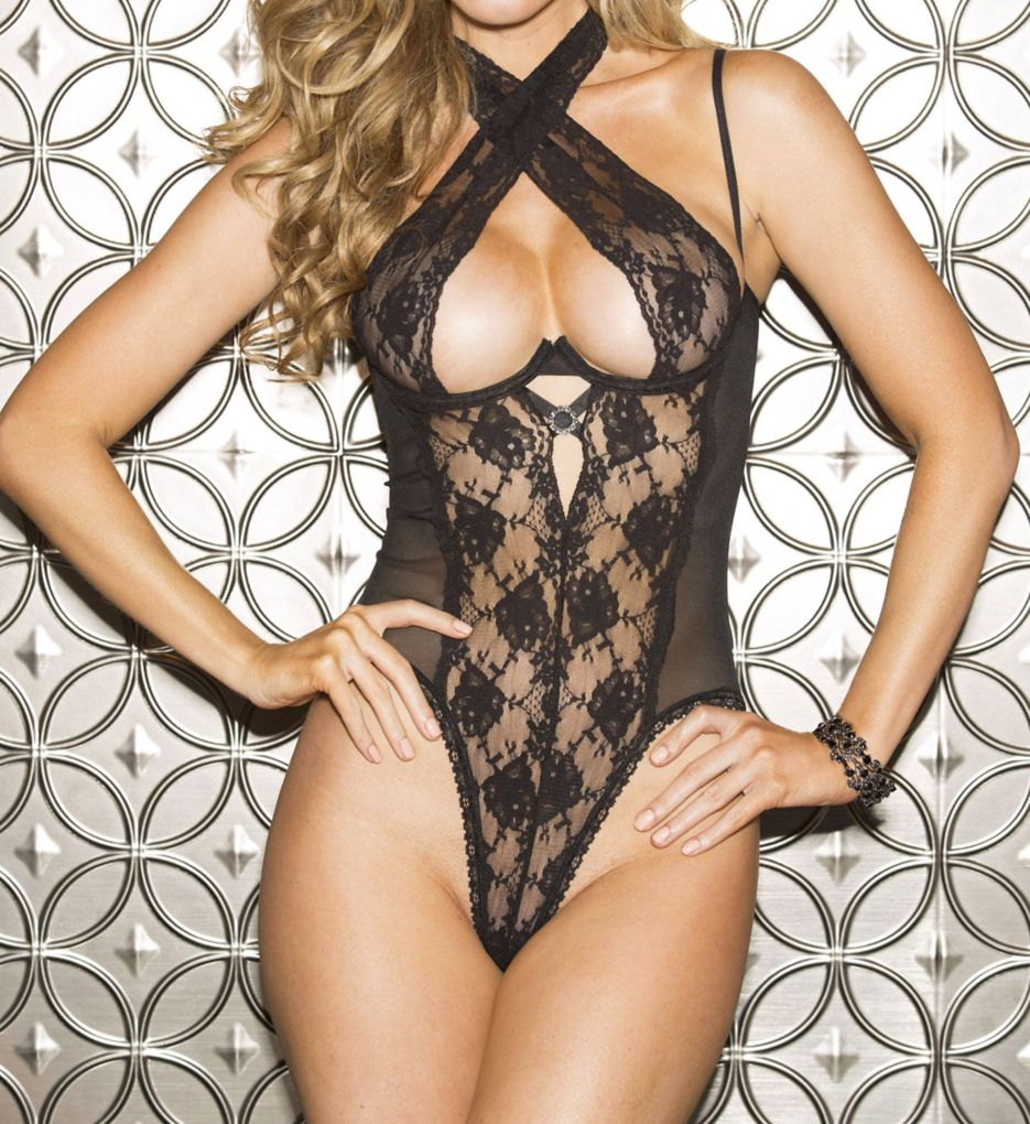 Shirley of Hollywood Lace Open Back Teddy