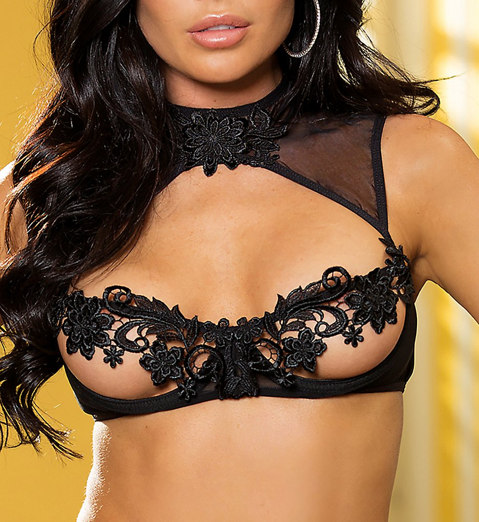 Shirley of Hollywood - Shirley of Hollywood 25750 Venice Open Cup Bra with High Neck (Black S)
