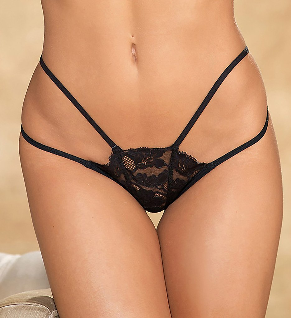 Shirley of Hollywood - Shirley of Hollywood 25788 Lace Strappy Thong (Black S/M)