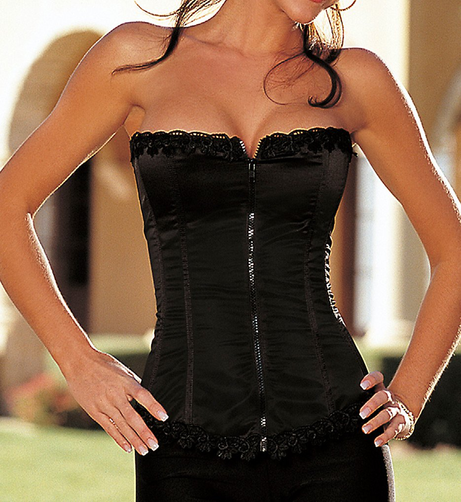 Shirley of Hollywood : Shirley of Hollywood 25953 Satin and Spandex Corset Top (Black 32)