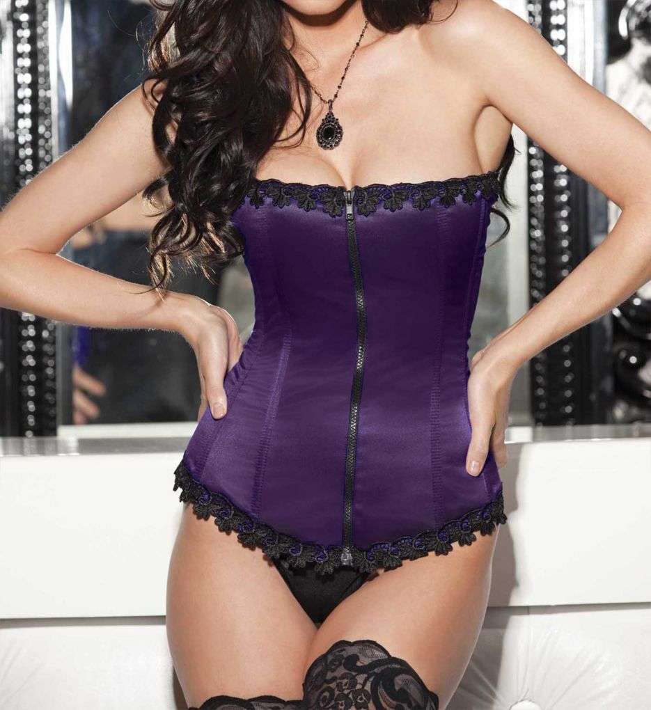 Shirley of Hollywood Satin and Spandex Corset Top