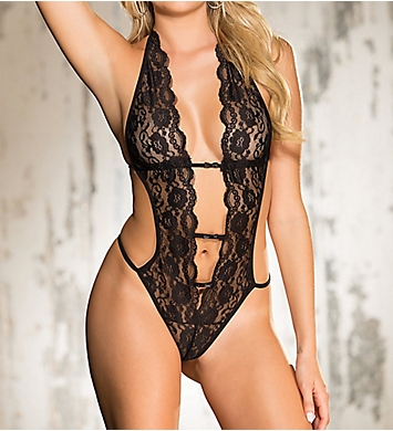 Shirley of Hollywood Deep 'V' Stretch Lace Teddy