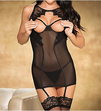 Shirley of Hollywood Open Cup Chemise & Garter Set