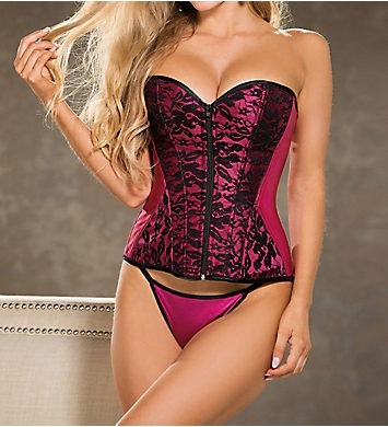 Shirley of Hollywood Lace Overlay Corset with G-string