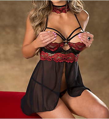 Shirley of Hollywood Two-Tone Lace Caged Ring Babydoll Set