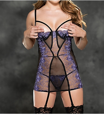 Shirley of Hollywood Incredibly Chic Embroidered Gartered Chemise Set
