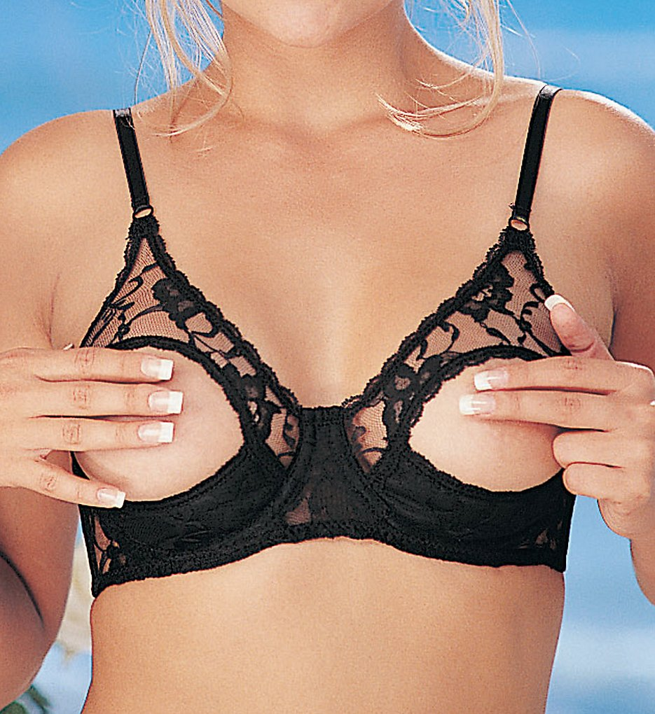 Shirley of Hollywood : Shirley of Hollywood 369 Lace Underwire Open Tip Bra (Black 32)