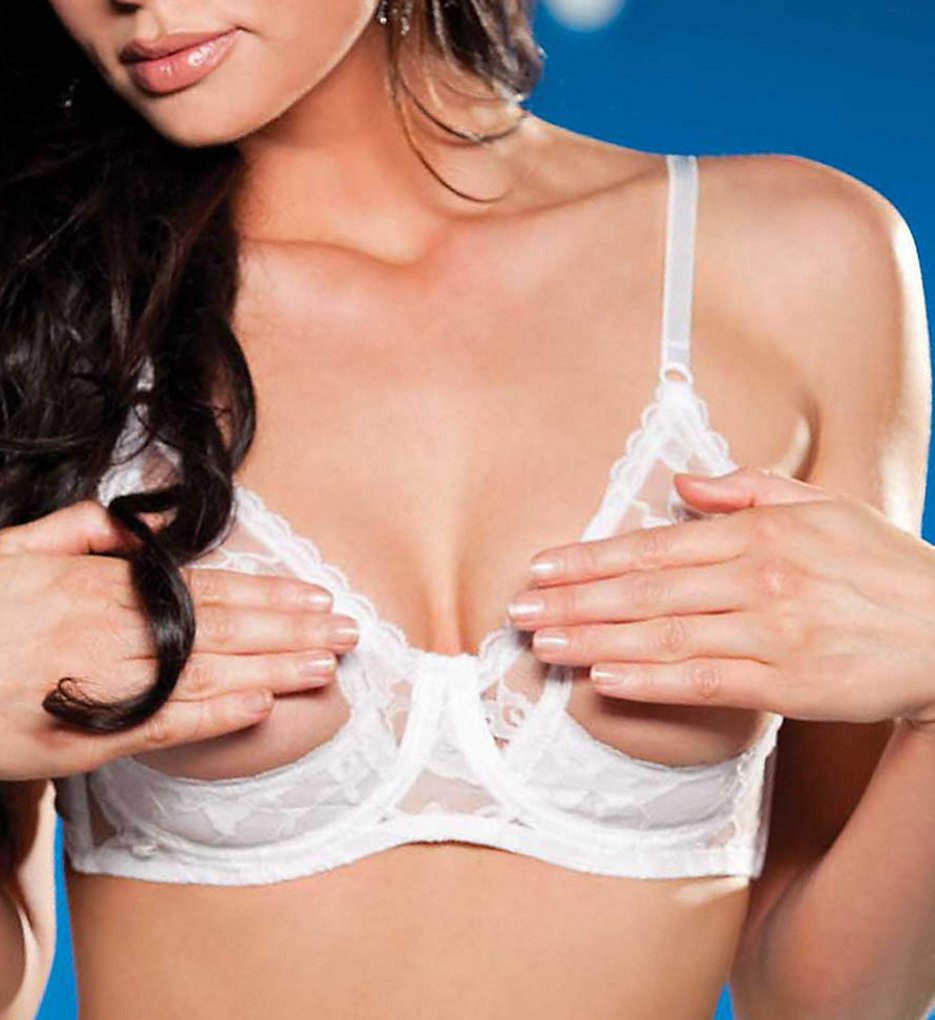 Shirley of Hollywood 369 Lace Underwire Open Tip Bra (White)