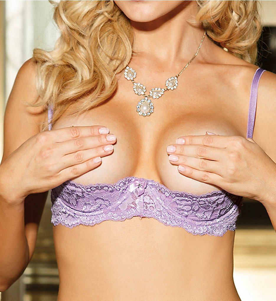 Shirley of Hollywood : Shirley of Hollywood 379 Textronic Stretch Lace Shelf Bra (Lilac 36)