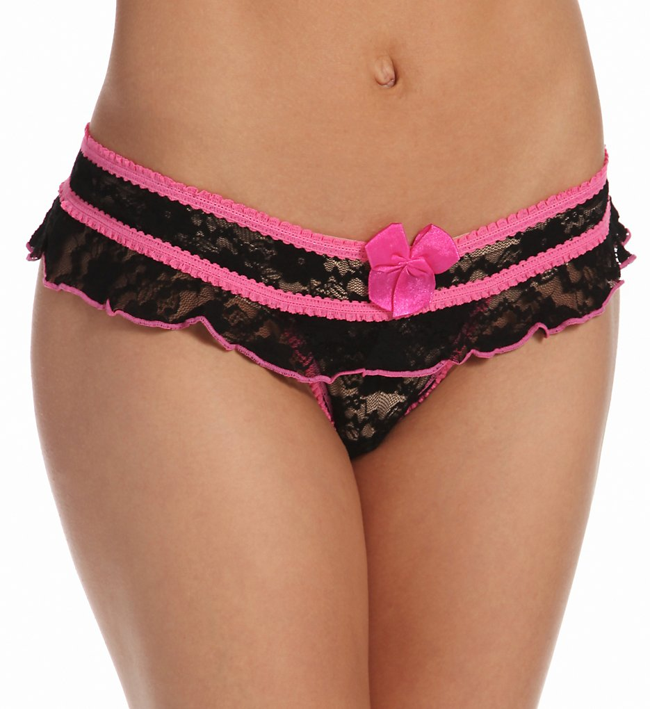 Shirley of Hollywood - Shirley of Hollywood 52 Stretch Lace Open Front Crotchless Panty (Black/Pink L/XL)