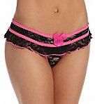 Stretch Lace Open Front Crotchless Panty