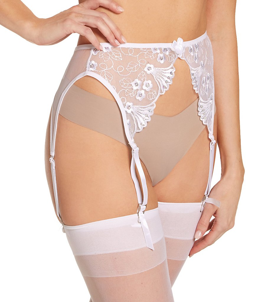 Shirley of Hollywood 677 Embroidered Garter Belt (White S/M)