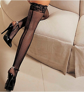 Shirley of Hollywood Fishnet Back Seam Stay Up Thigh Stockings